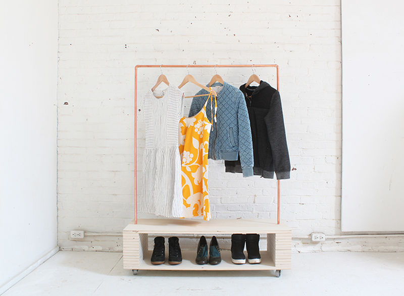 Easy to build DIY rolling garment rack
