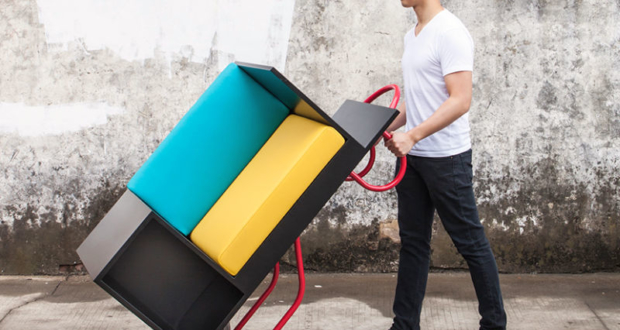 furniture on wheels. furniture with wheels is new concept for urban dwellers on