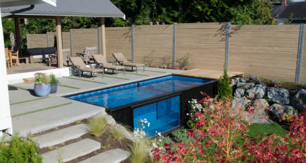 Modpool: Movable shipping container pool with glass window