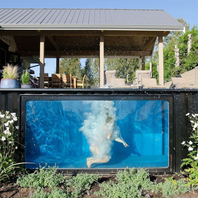 Modpool movable shipping container pool with glass window - Faire piscine container ...