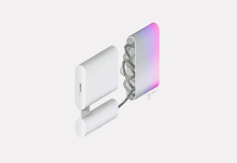 Squared hairdryer by JiyounKim Studio comes with translucent cord keeper