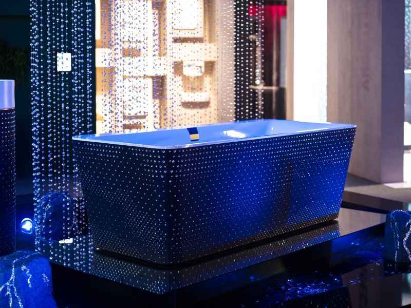 Squaro bathtub by Villeroy & Boch gets luxury makeover with Swarovski crystals