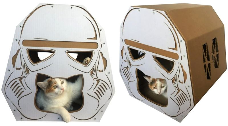 Stormtrooper's helmet-shaped cat house by Cacao Pets