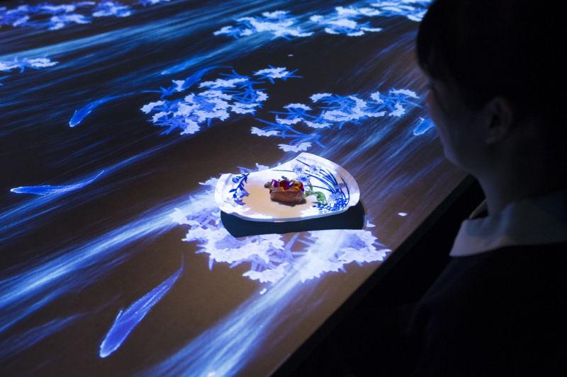 Teamlab's digital installation at Sagaya offers multi-sensory eating experience