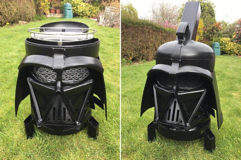 vader q dual purpose wood burner and bbq for star wars lovers. Black Bedroom Furniture Sets. Home Design Ideas