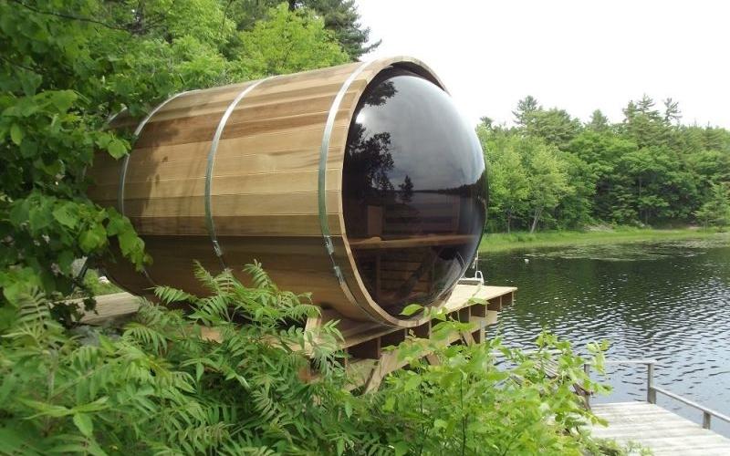 Dundalk leisure craft s barrel sauna lets you steam at for Dundalk leisure craft outdoor cabin sauna