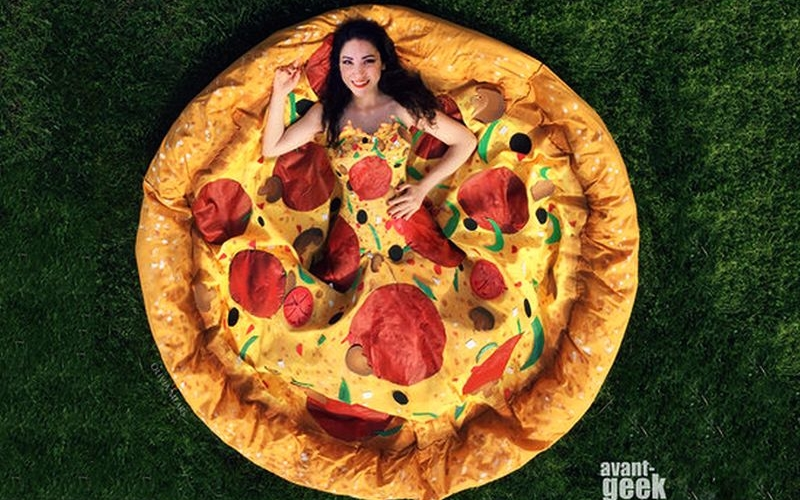 meets fashion! Olivia Mears designs regal Pizza gown for a contest