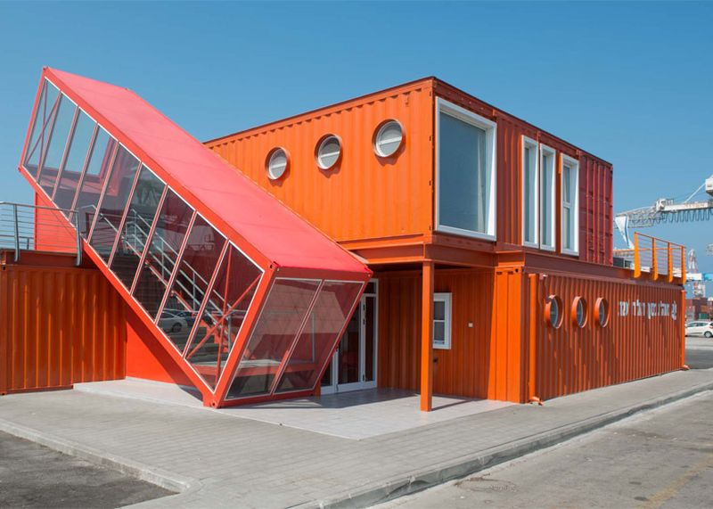 Angled shipping container houses - Israel