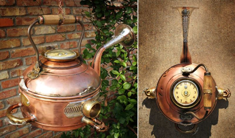 Bird home crafted from vintage copper kettle