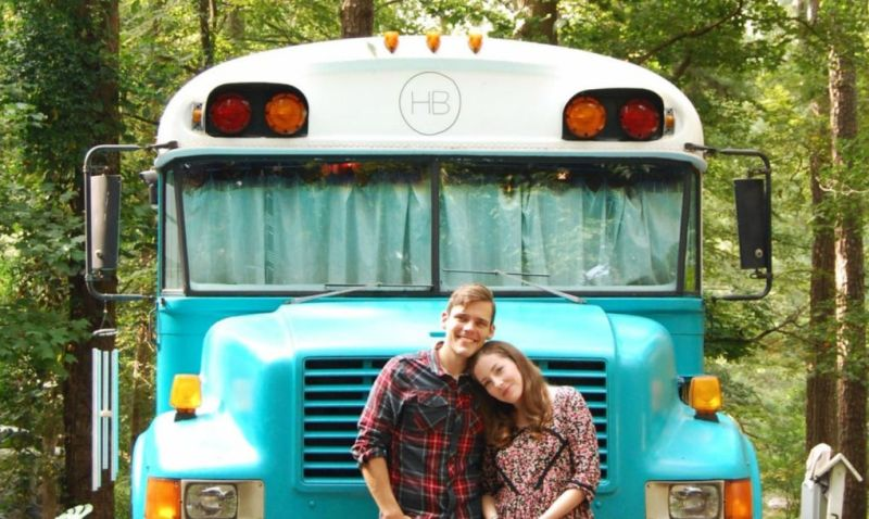 Couple turns 1990 Blue Bird Bus into a drivable home