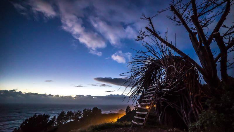 Twig Hut human nest at Treebones Resort, Big Sur, USA