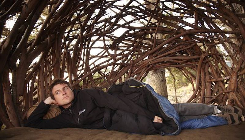 human nest treehouse near a campsite