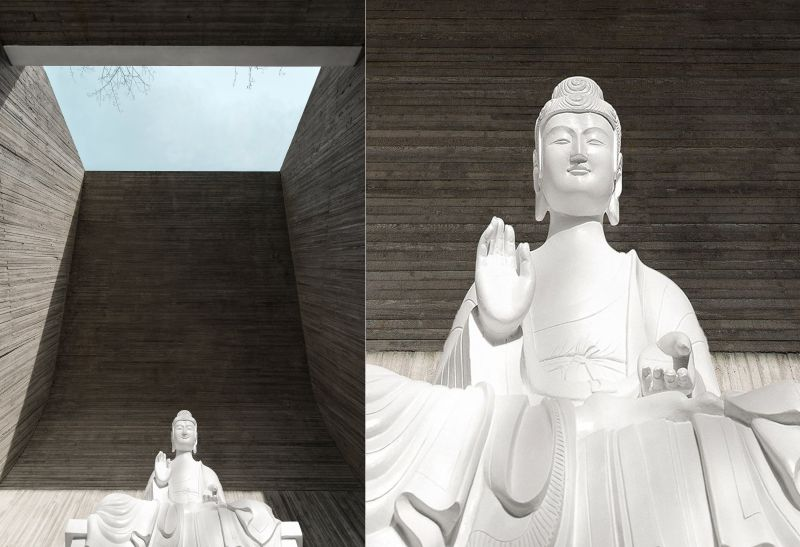 Huge white Buddha sculpture inside