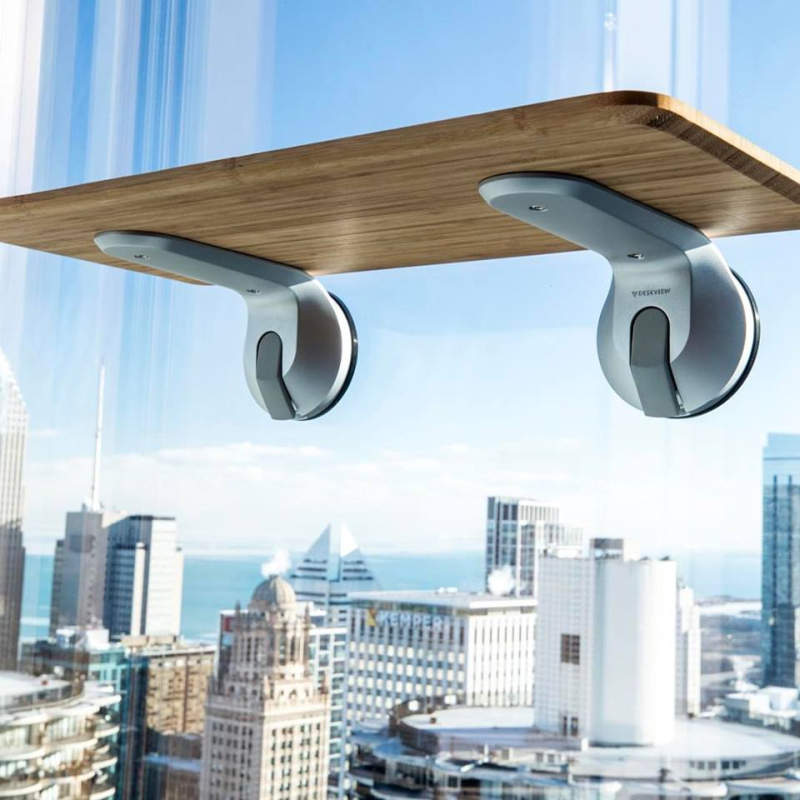 Deskview is a window-mounted adjustable standing desk