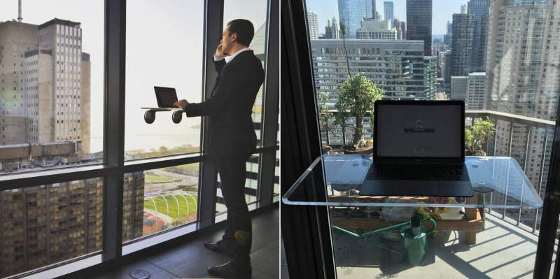 Deskview Is A Window Mounted Adjustable Standing Desk