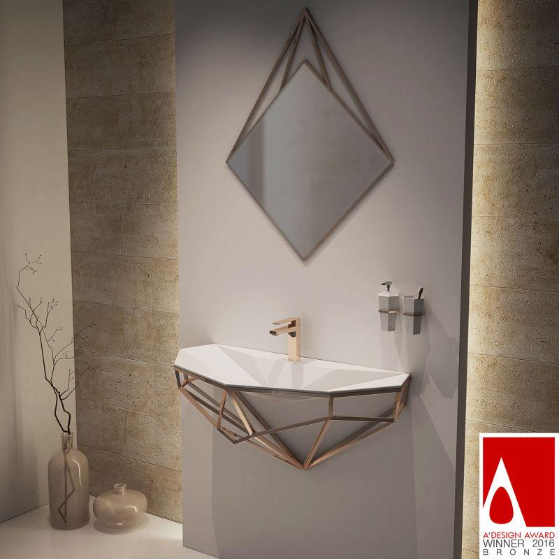 Diamond wall-mounted sinks by Berk Aril