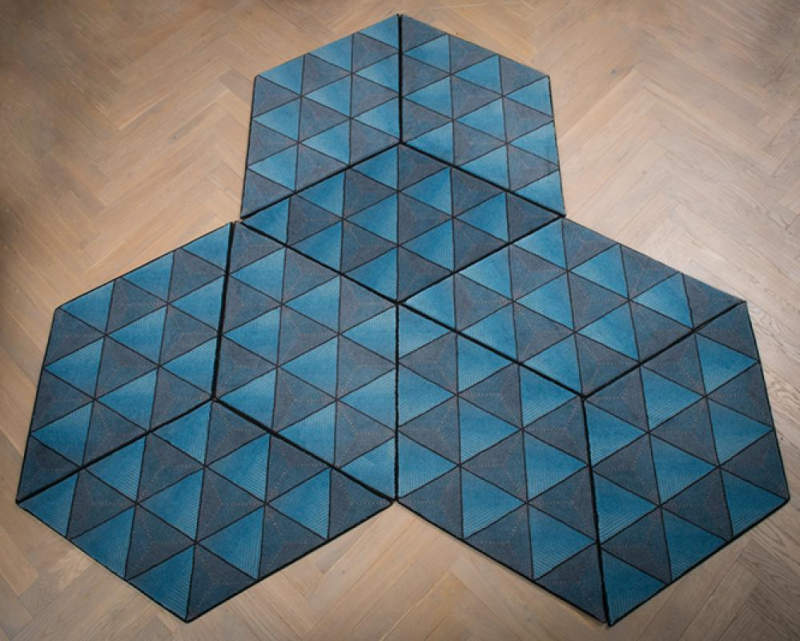 rhombus and hexagon-shaped pieces