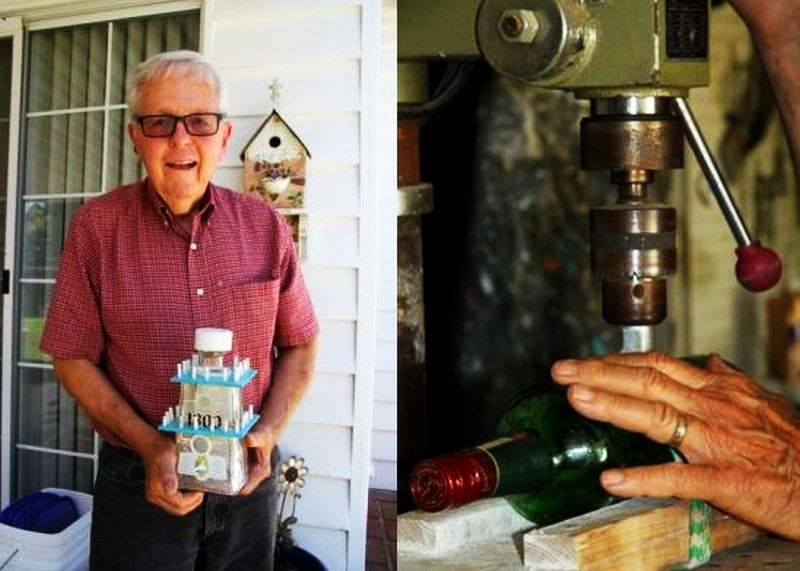 Liquor bottle birdhouses by Larry