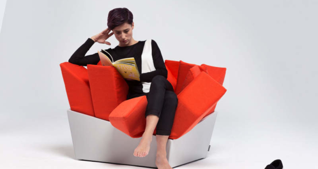 Manet easy chair by Best Before 2065 with protruding cuddly pillows to sit on