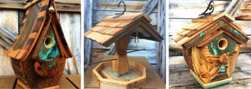 Michael Campbell uses old barnwood to create alluring birdhouses
