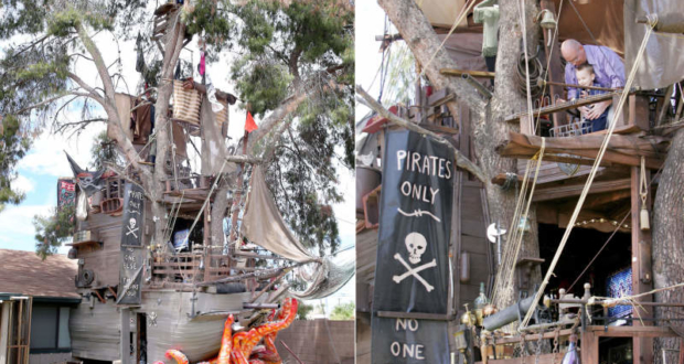 Pirate ship-themed treehouse in Casa Grande