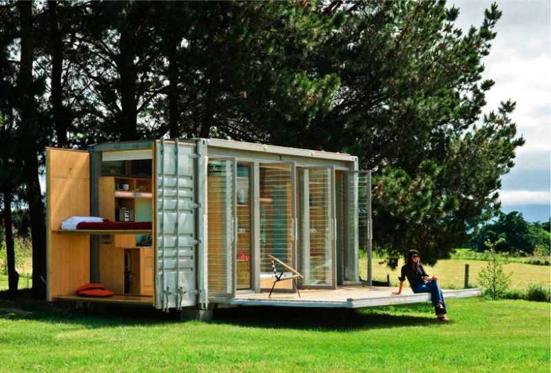 Port-A-Bach shipping container home on wheels