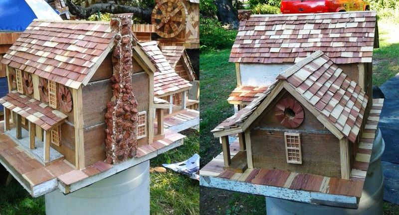 This birdhouse is made using reclaimed material from 157-year-old log house