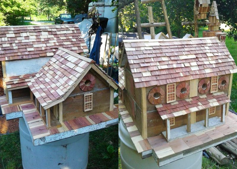 birdhouse is made up using reclaimed material of 157-years- old log home