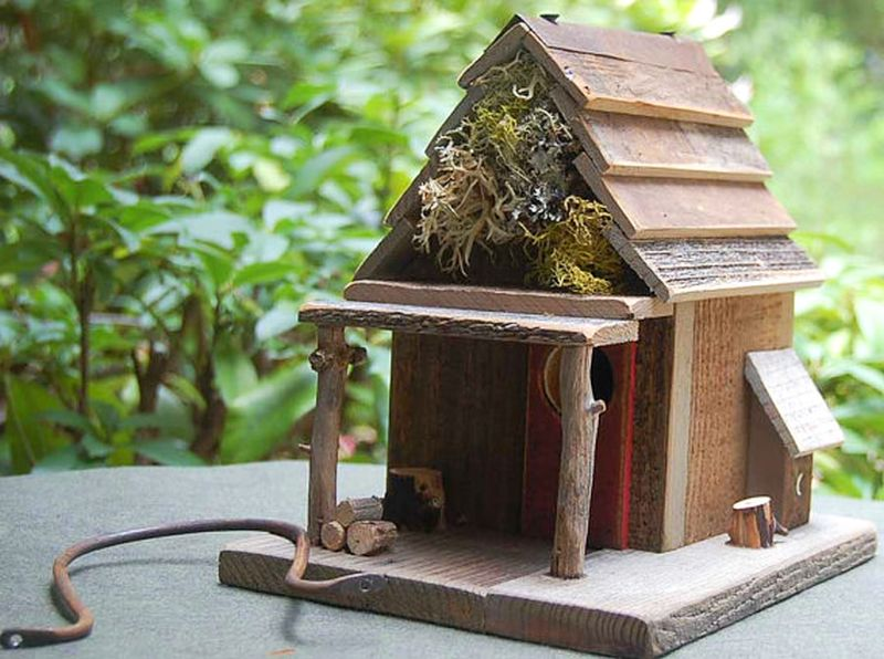 Rustic Birdhouse with Porch 2