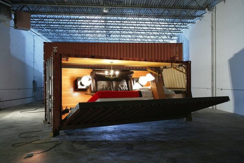 Shipping Crate Transforms into a Push Button Home