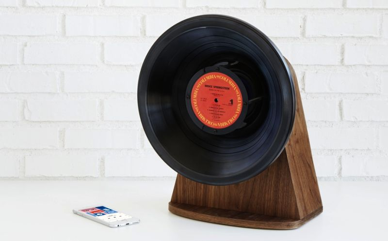 Vintage Vinyl Bluetooth Speaker upcycled from old vinyl records