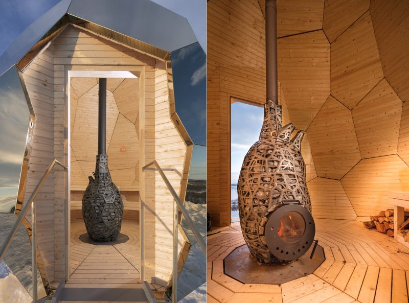Fireplace Sauna Chamber from inside