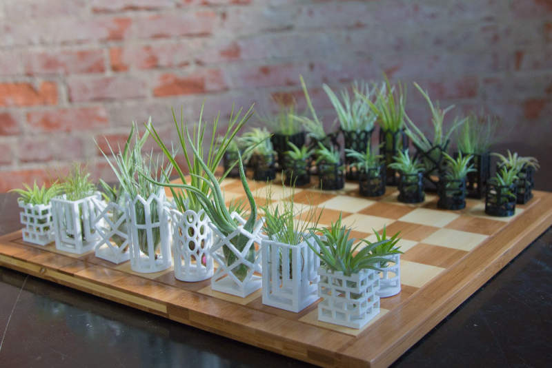 This micro planter chess set is lively art piece for your home