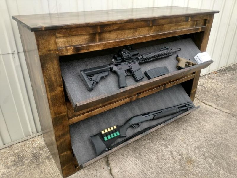 Wooden Shelving With Dual Drop Down Gun Concealing Compartments