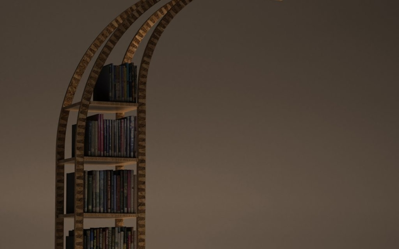 A unique bookshelf that helps you to read in the dark