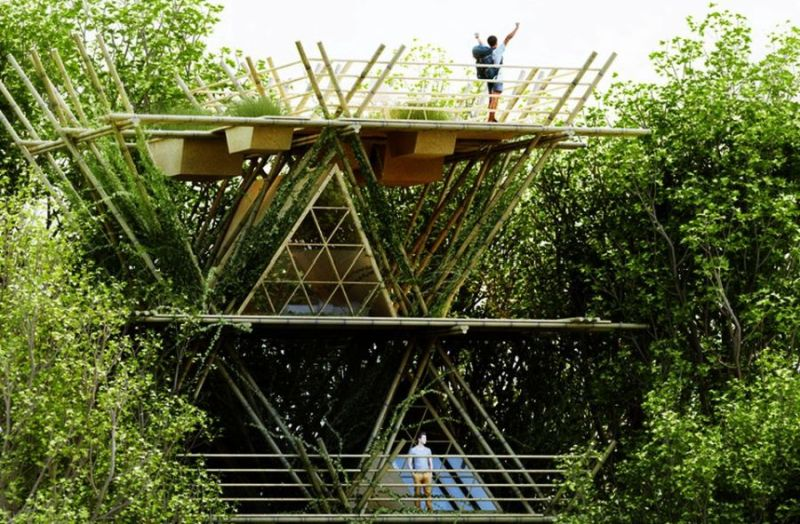 Modular bamboo hotel by Penda