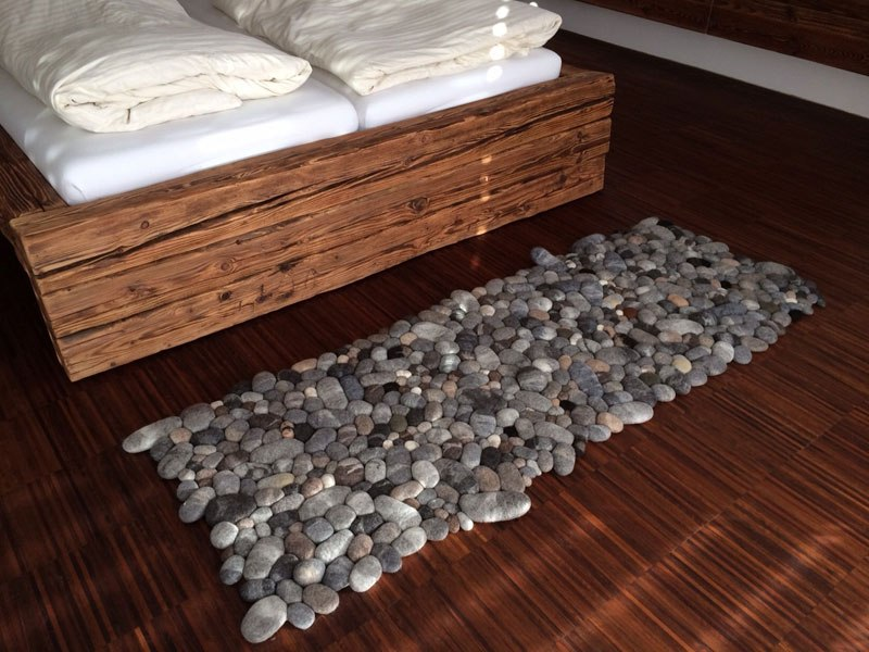 Amazing felt rugs that look like river cobbles for River stone bath mat