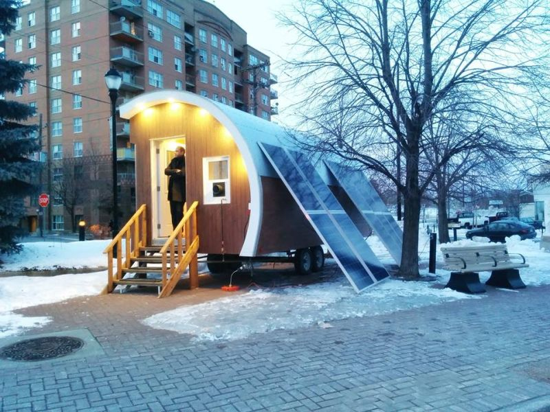 The pod is solar powered and heated via propane