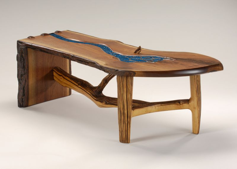 Ben Manns Stained Glass River table.