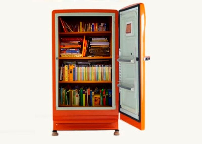 Bookcase Recycled From An Old Fridge