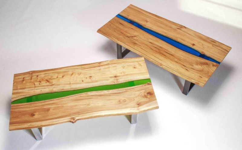 Resin River Coffee Table on Steel Base by FRANCES BRADLEY.