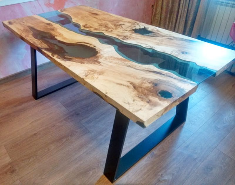 Live Edge Resin Dining Table