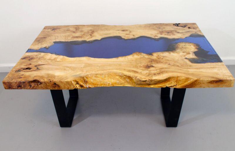 Birds eye poplar burl wood river table by NaturesbeautyStore