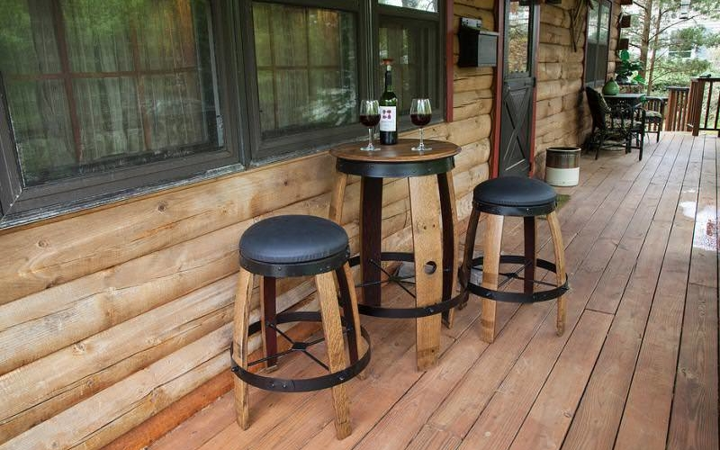 Bistro-Tables-and-stools- made from pold barrels
