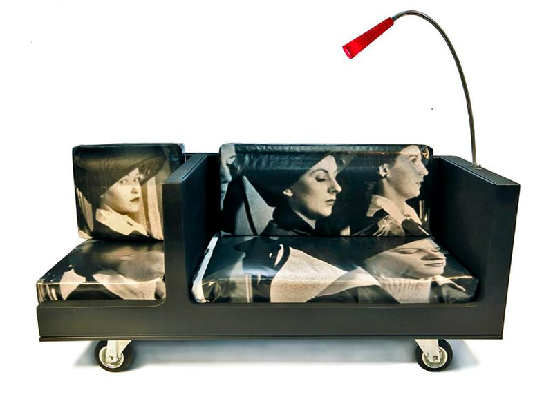 Black sofa made out of an old refrigerator