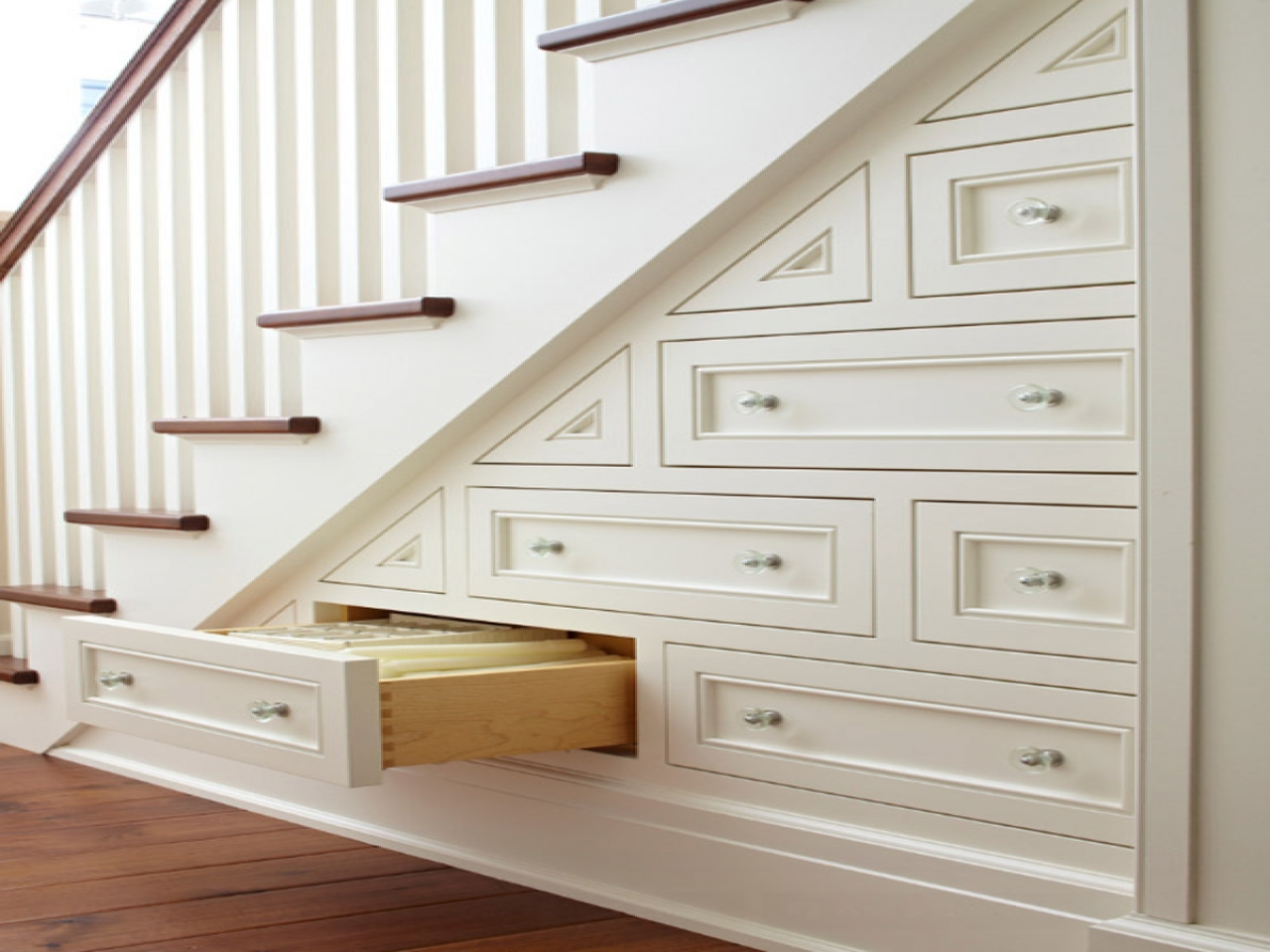 built in drawers & chests under stairs