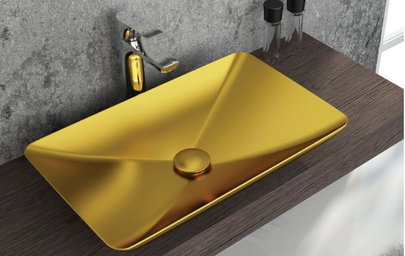 Sistema Vessel Basin Gold Glazed Ceramic