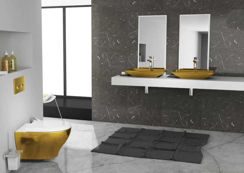 ColorISVEA Sistema basin, Soluzione wall hung pan and flush button
