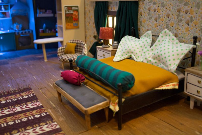 Leading boy character's bedroom with constantly messy bed