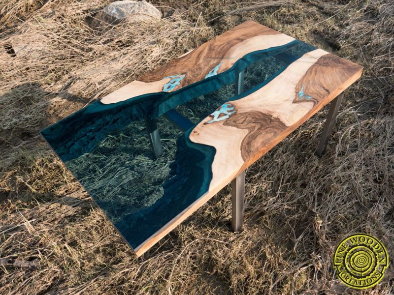 Delta live edge walnut wood slab river coffee table by Fine Wooden Creations